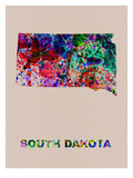 South Dakota Color Splatter Map Prints by  NaxArt