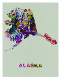 Alaska Color Splatter Map Prints by  NaxArt