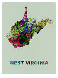 West Virginia Color Splatter Map Art by  NaxArt