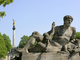 Stone Sculpture at the Luitpold Bridge and Angel of Peace in Munich Photographic Print