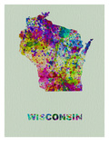 Wisconsin Color Splatter Map Posters by  NaxArt