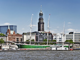 Saint Michaelis Church and Museum Ship Rickmer Rickmers in Hamburg Photographic Print