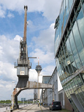 Old Harbor Crane in the D&#252;sseldorf Media Harbor Photographic Print by Frank Roeder