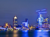 Illumination Blue Port in Hamburg Photographic Print