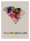 South Carolina Color Splatter Map Prints by  NaxArt
