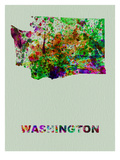 Washington Color Splatter Map Prints by  NaxArt