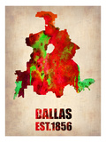 Dallas Watercolor Map Posters by  NaxArt