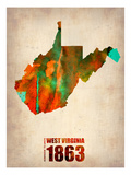 West Virginia Watercolor Map Posters by  NaxArt