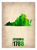 Virginia Watercolor Map Art by  NaxArt