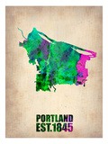 Portland Watercolor Map Art by  NaxArt