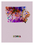 Iowa Color Splatter Map Print by  NaxArt