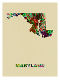 Maryland Color Splatter Map Affiches par  NaxArt