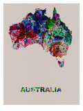 Australia Color Splatter Map Prints by  NaxArt