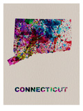 Connecticut Color Splatter Map Affiches par  NaxArt