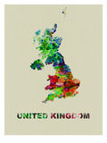 United Kingdom Color Splatter Map Posters by  NaxArt