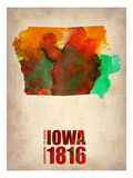 Iowa Watercolor Map Print by  NaxArt
