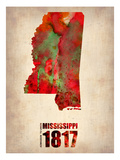 Mississippi Watercolor Map Posters by  NaxArt