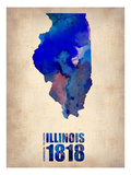 Illinois Watercolor Map Posters by  NaxArt