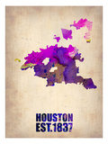 Huston Watercolor Map Prints by  NaxArt