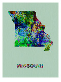 Missouri Color Splatter Map Prints by  NaxArt
