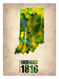 Indiana Watercolor Map Affiches par  NaxArt