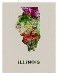 Illinois Color Splatter Map Poster by  NaxArt