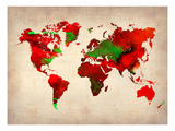 World Watercolor Map 4 Posters by  NaxArt