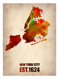 New York City Watercolor Map 2 Prints by  NaxArt
