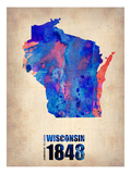Wisconsin Watercolor Map Prints by  NaxArt