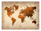 World  Map 7 Affiches par  NaxArt