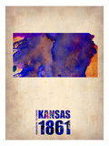Kansas Watercolor Map Poster von  NaxArt
