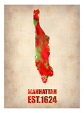 Manhattan Watercolor Map Prints by  NaxArt