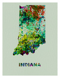 Indiana Color Splatter Map Prints by  NaxArt
