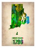 Rhode Island Watercolor Map Kunstdruck von  NaxArt