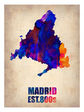 Madrid Watercolor Map Prints by  NaxArt