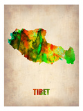 Tibet Watercolor Map Poster by  NaxArt