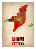 Miami Watercolor Map Posters by  NaxArt