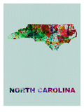 North Carolina Color Splatter Map Print by  NaxArt