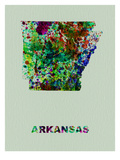 Arkansas Color Splatter Map Prints by  NaxArt