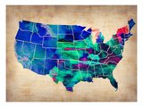Usa Watercolor Map 3 Arte por  NaxArt