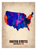 Usa Watercolor Map 1 Arte por  NaxArt