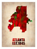 Atlanta Watercolor Map Posters by  NaxArt