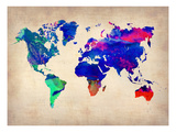 World Watercolor Map 2 Plakater av  NaxArt