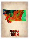 Montana Watercolor Map Print by  NaxArt