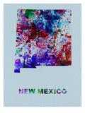 New Mexico Color Splatter Map Prints by  NaxArt