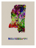 Mississippi Color Splatter Map Print by  NaxArt