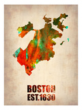 Boston Watercolor Map Posters by  NaxArt