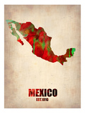 Mexico Watercolor Map Prints by  NaxArt
