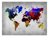 World Watercolor Map 12 Premium Giclee Print by  NaxArt