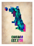 Chicago Watercolor Map Prints by  NaxArt